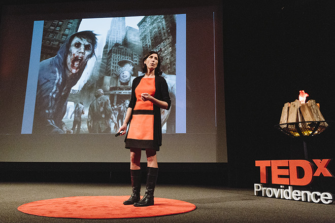 Adrienne Gagnon, co-founder of DownCity Design, speakinga t last year's TEDxProvidence.