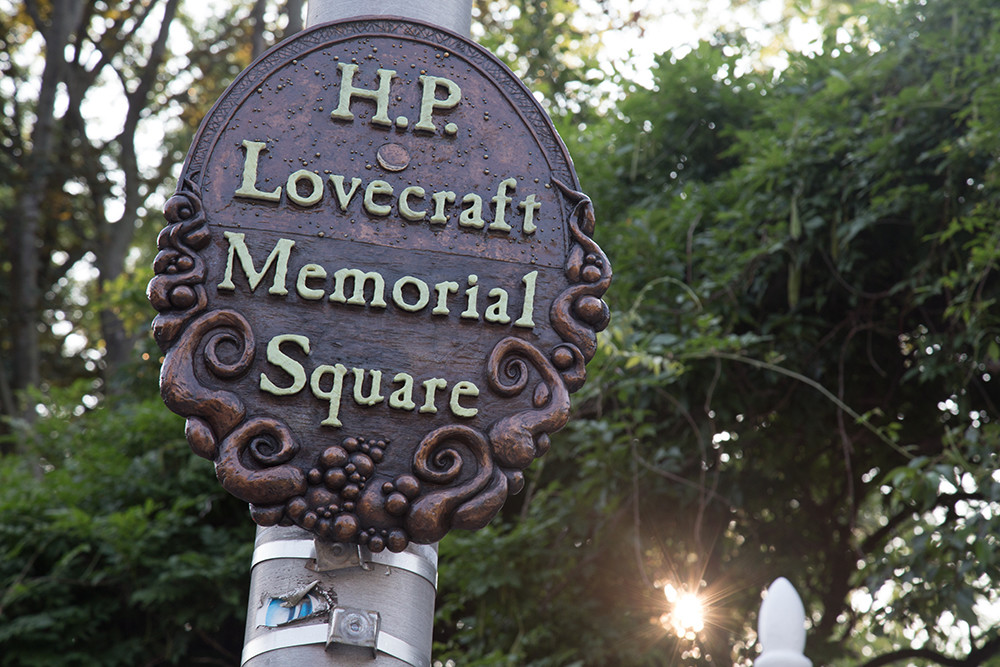 The plaque marking H.P. Lovecraft Memorial Square at the corner of Angell and Prospect Streets