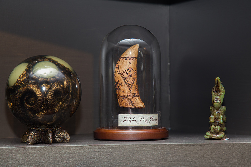 Examples of Gage Prentiss' Lovecraft relics, on display at Lovecraft Arts and Sciences in The Arcade