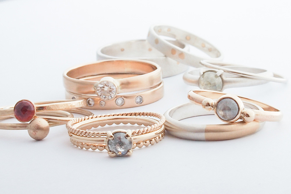 Wedding bands hammered by Harmony Winters