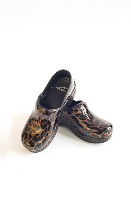 Leopard Clogs – Dansko professional brown clogs; $135 exclusively at Alexander's Uniforms