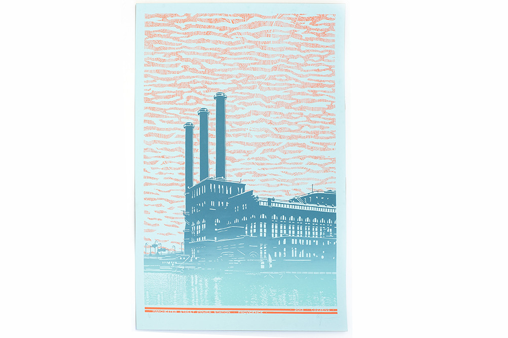 PVD Power – Manchester St. Power Station, hand-screen printed by Secret Door Projects; $61 at Craftland