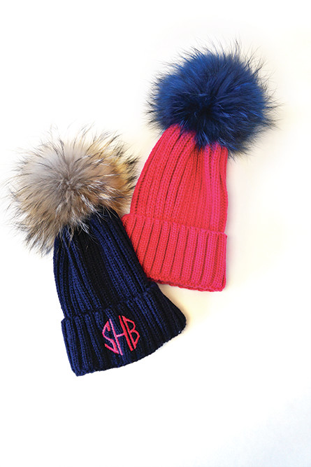 Celebrity Trend – Raccoon pom pom hat in a variety of stylish colors; $68 each at Pink Pineapple