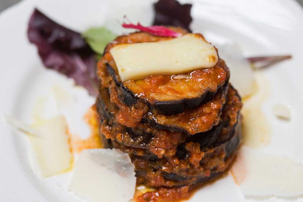 Lighten up with low-carb alternatives like the Sicilian Eggplant from Simone's in Warren