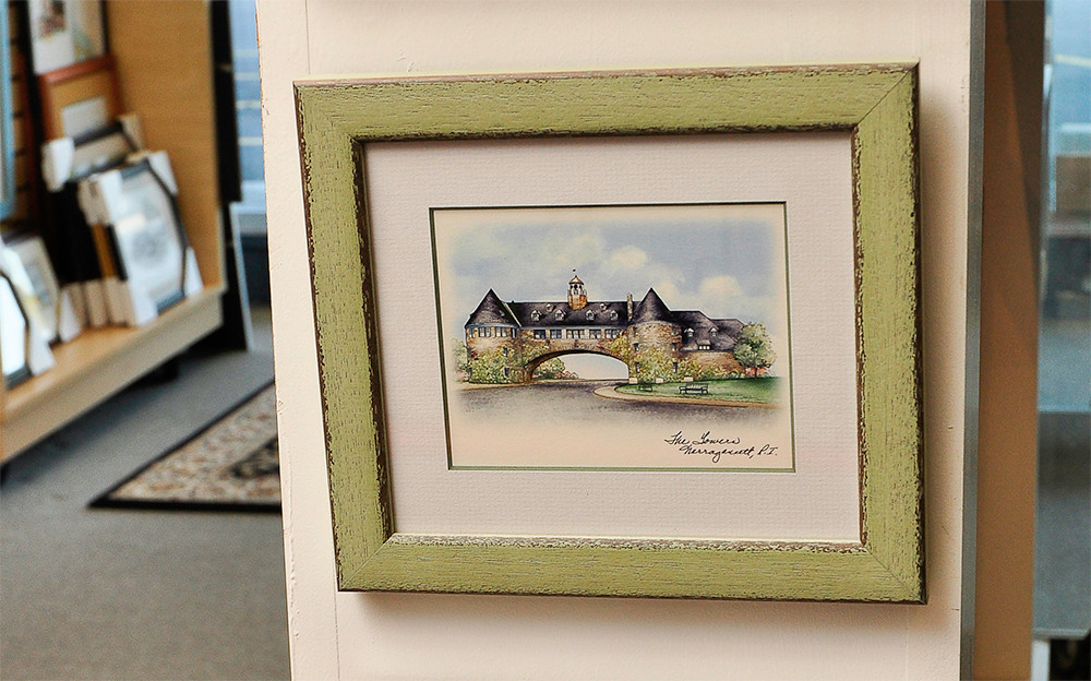 Small framed printes of Narragansett Towers and URI, $29.99 and up