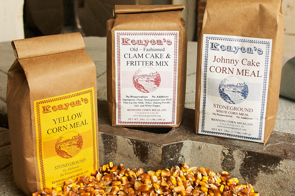 Grab your Johnny Cake mix from Kenyon's Grist Mill, one of RI's oldest operating businesses