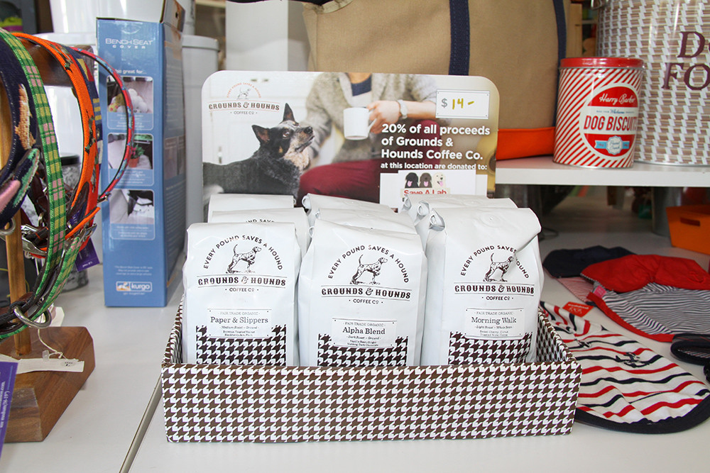 Grounds & Hounds Coffee Co. donates 20% of their fair-trade certified coffee to Save A Lab, $14 per pound