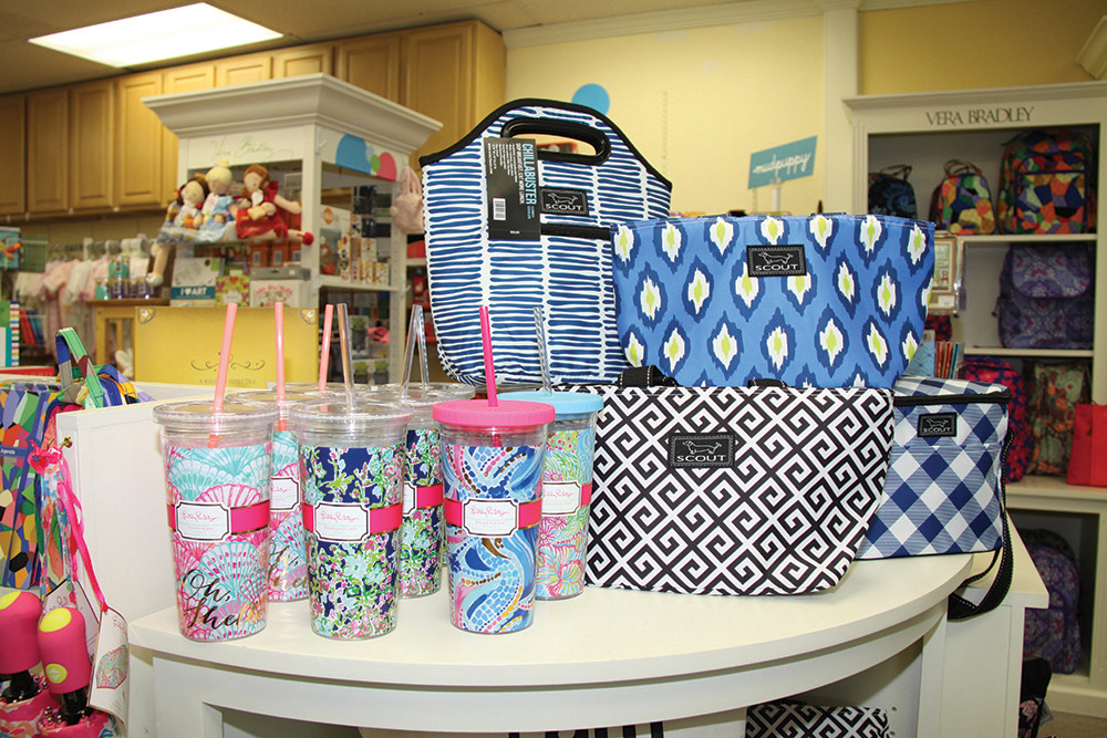 Lily Pulitzer tumblers, $16; Scout Style lunch bag, $22