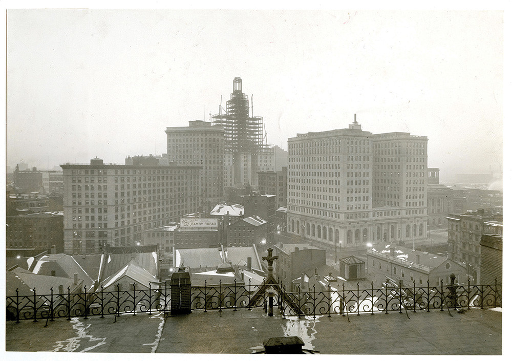 The Industrial Trust Tower, seen under construction in the winter of 1928, would become the heart of the city's financial district and serve as home to banking operations until Bank of America's exit in 2012