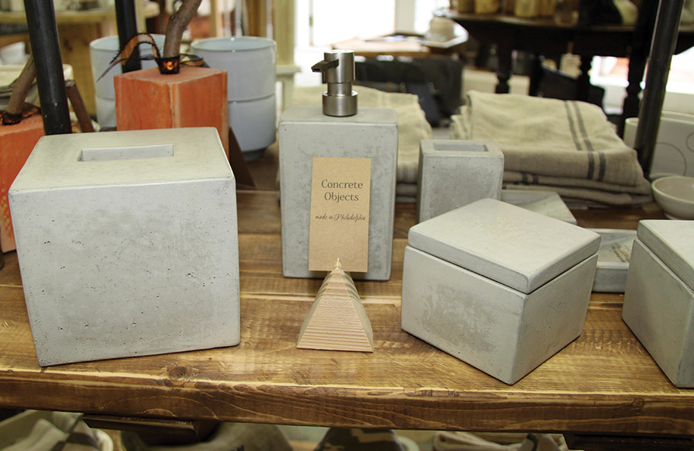 Concrete bath accessories, $22-$62