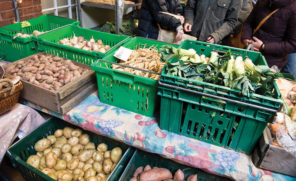 a sampling of fresh veggies fruits and more at this indoor venue