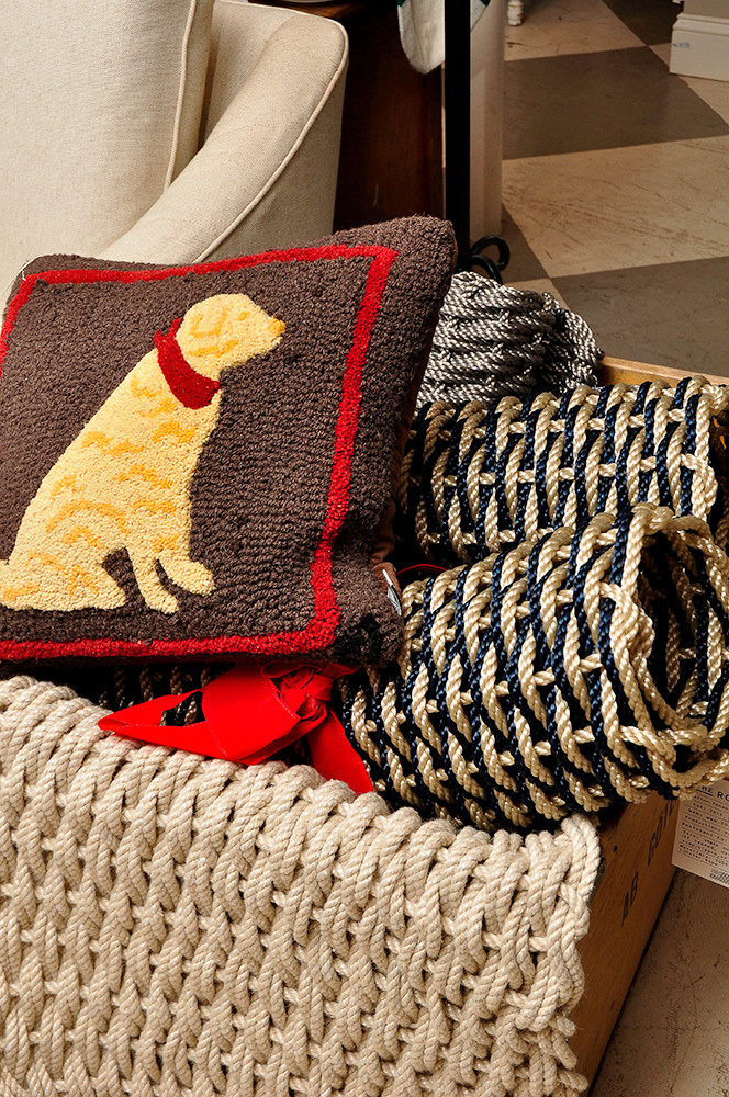 Hand hooked pillows, $72; Lobster rope rugs, $60