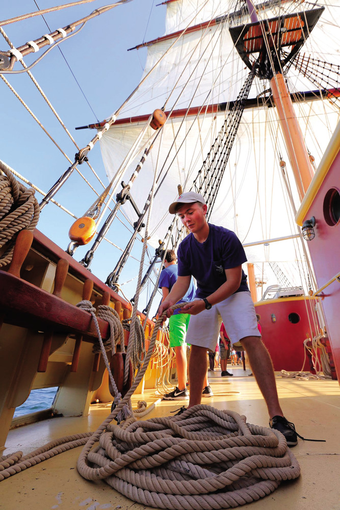 Students learn the basics of seamanship aboard a tall ship, 