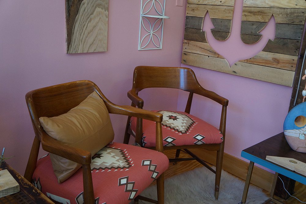 Anchor art, $80; Teak chairs, $300