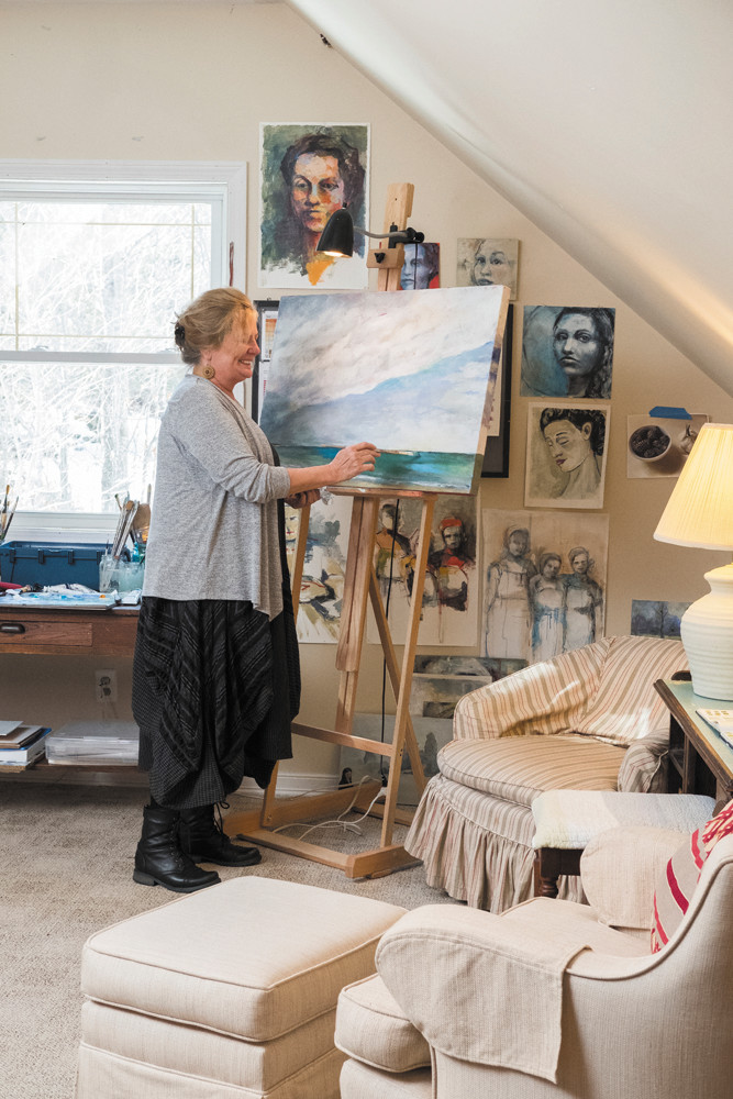 "Artist Susan Sward created a ""secret space"" in her Charlestown home where she can get lost in her art after a long day"