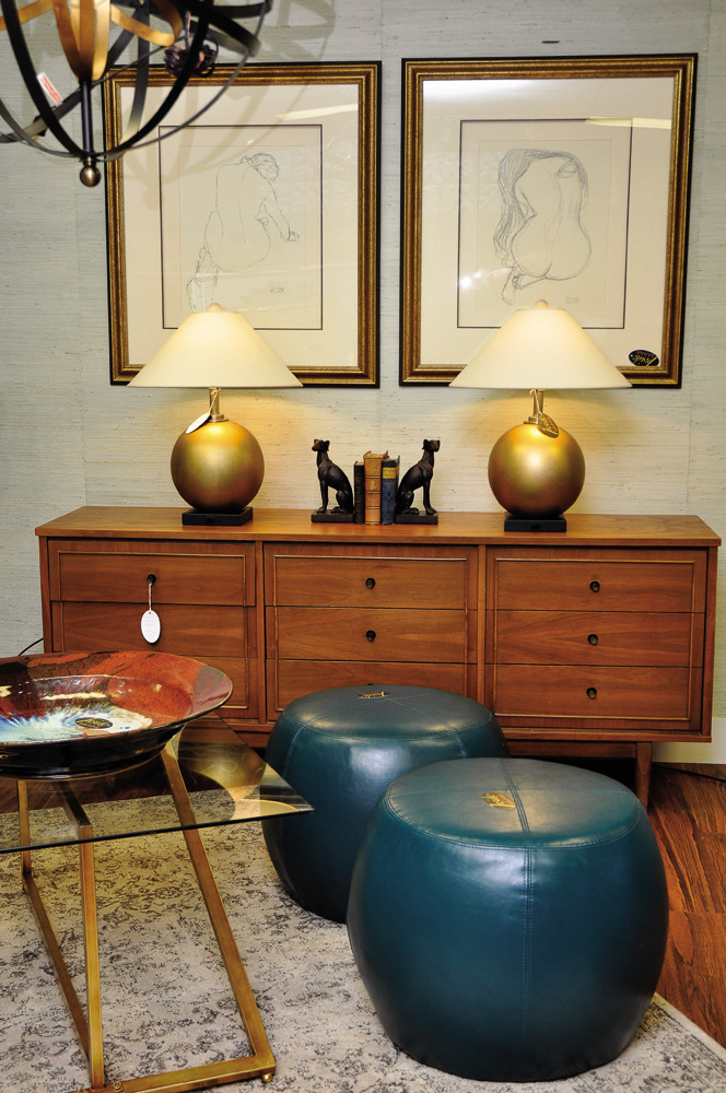 Midcentury Credenza, $850; Teal Hassocks, $250 each
