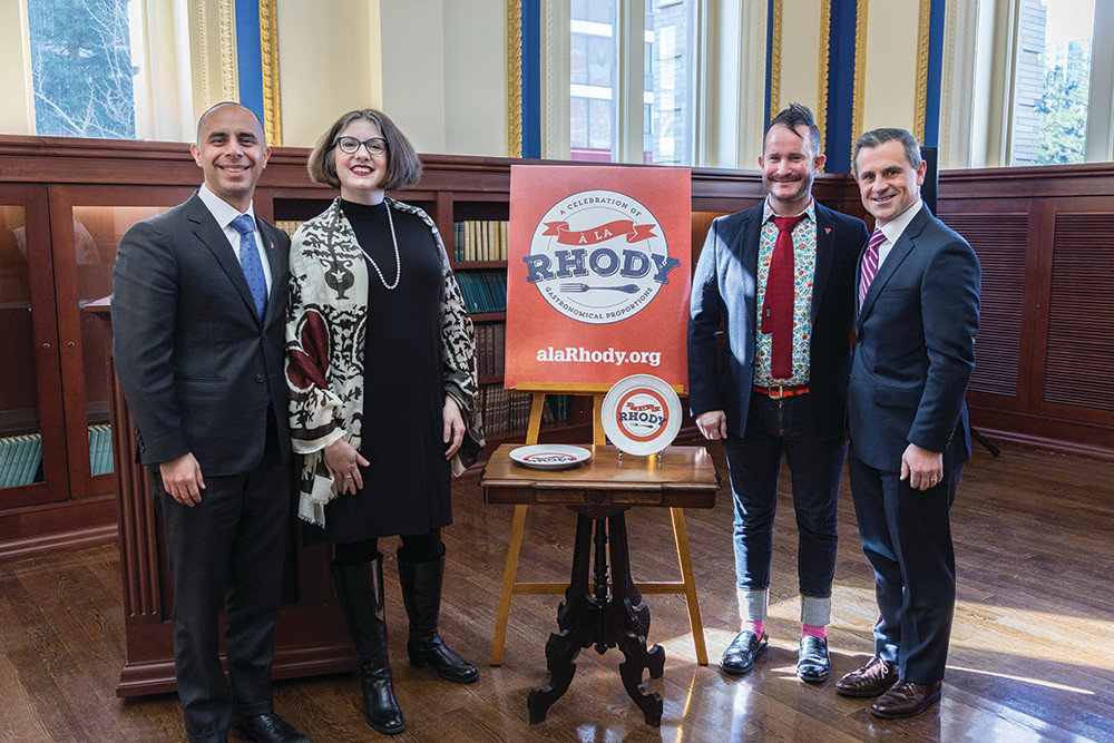 Mayor Elorza, C. Morgan Grefe of the RI Historical Society, Jack Martin of the Providence Public Library and First Gentleman Andy Moffit at the A La Rhody kickoff