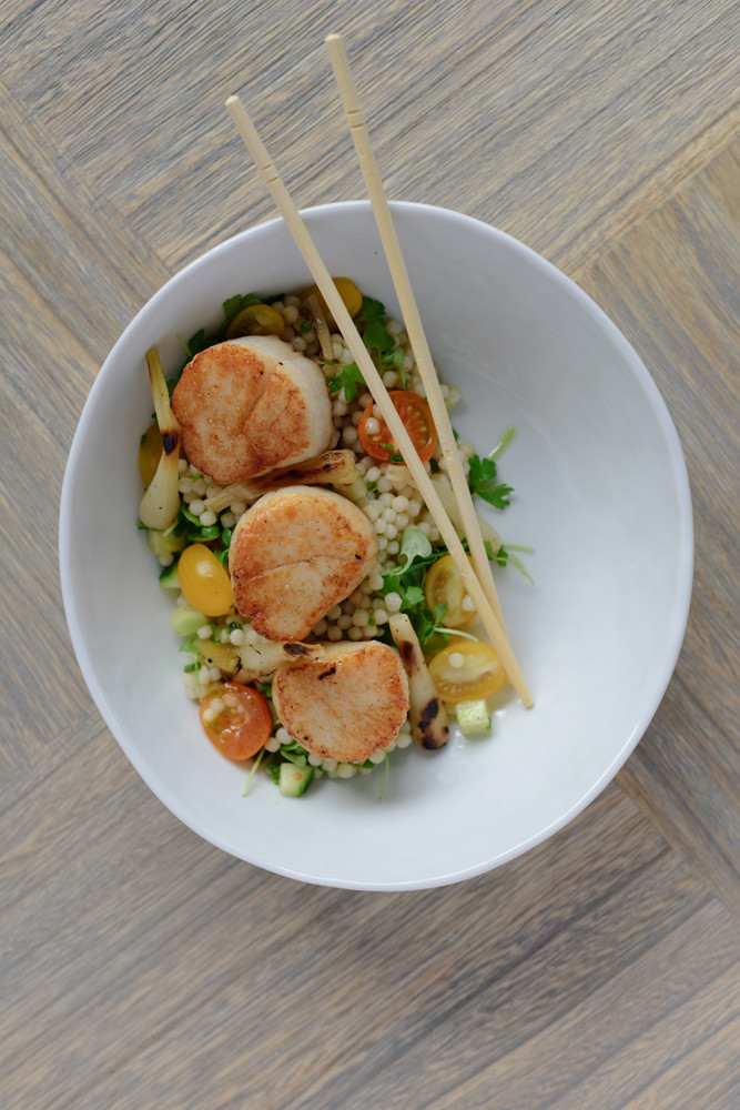 Seared Sea Scallops with couscous
