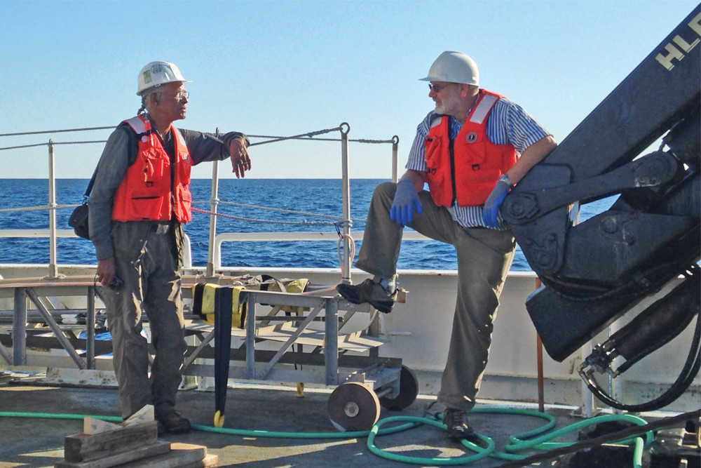 Doug Harris, Narragansett Indian Deputy Tribal Historic Preservation Officer, and John King, a professor at URI's school of oceanography, lead the study of underwater sites where they've found artifacts from thousands of years ago