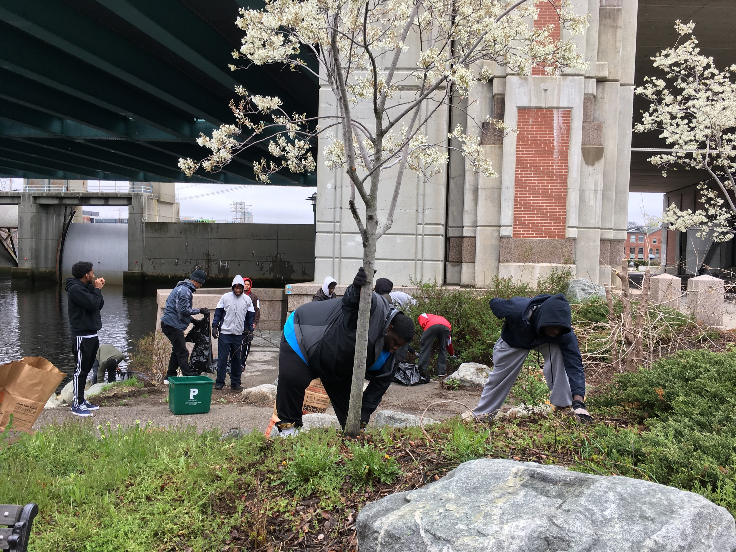 Fox Point residents clean up the Riverwalk on Earth Day