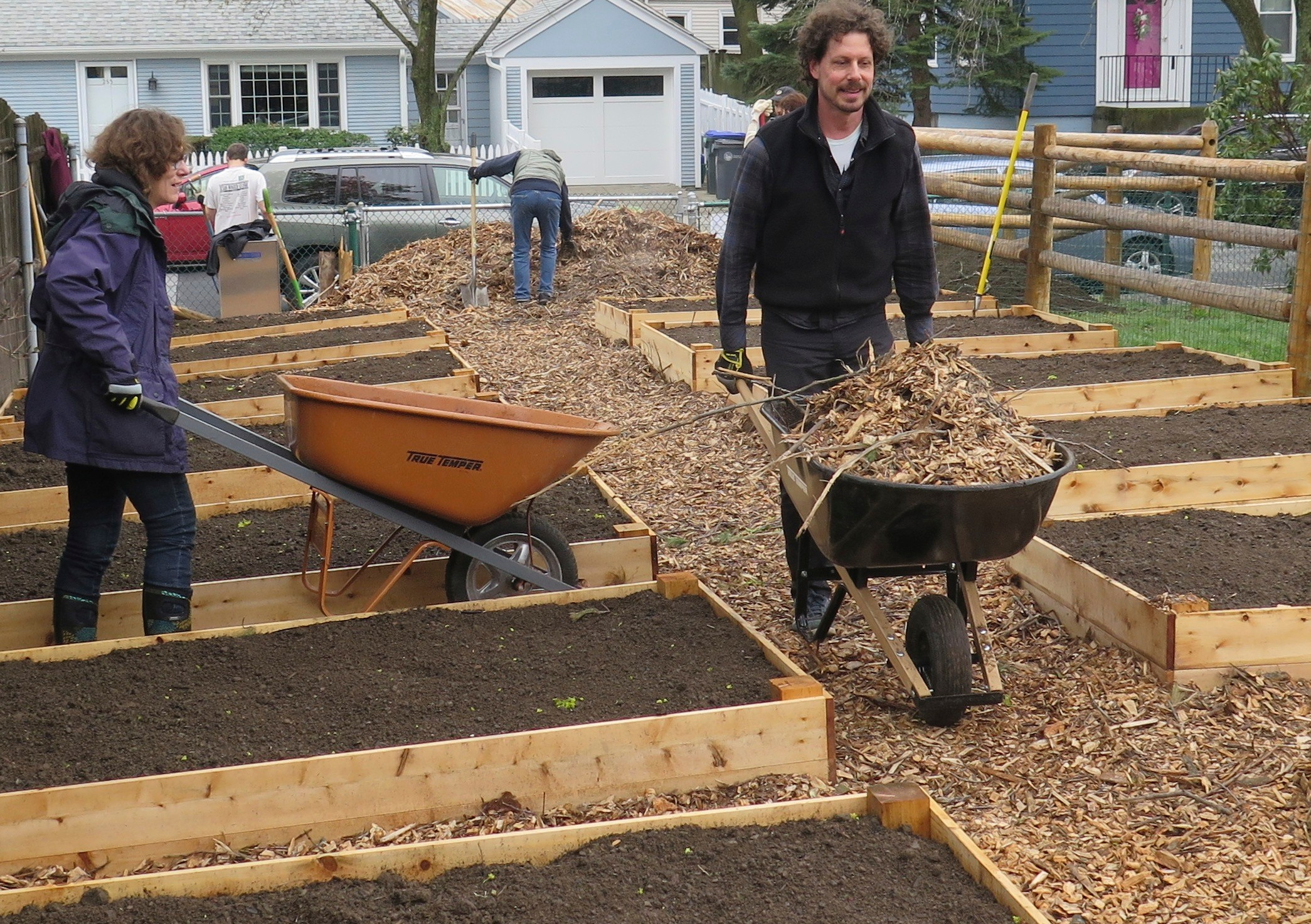 Wheelbarrows and muscles spread mulch between the raised beds of the Summit Neighborhood Community Gardens on April 22, Earth Day.