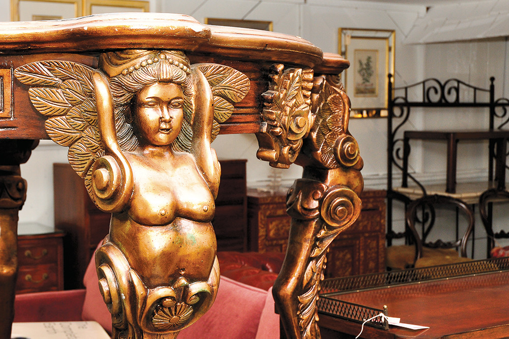Pair of Renaissance carved tables, $899