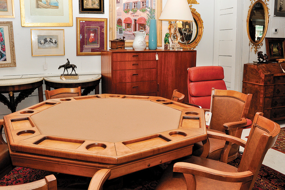 Poker table and chairs, $1200