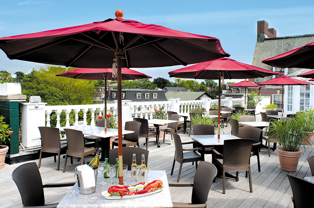 The rooftop patio at Hotel Viking in Newport