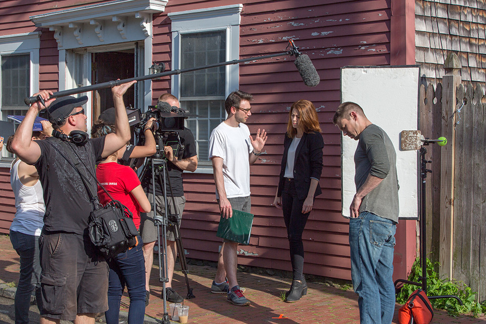 RI-native Gabriel Long (center) directing The Passing Season on location in Newport