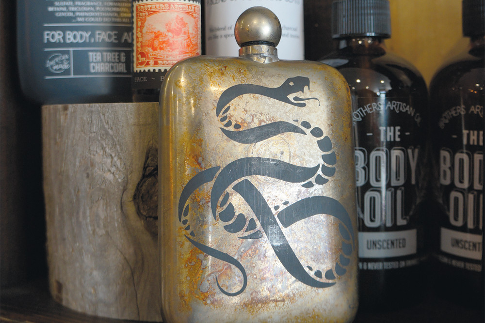 Brothers Artisan Oil Products,$18-22; Sneerwell flask, $62
