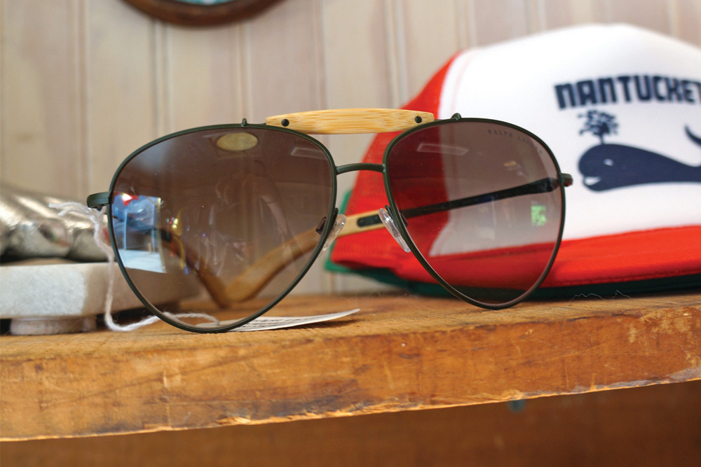 Ralph Lauren bamboo aviators, $145; Nantucket hat, $20