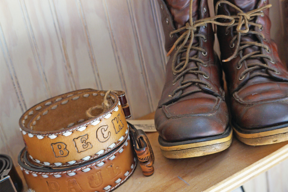 Vintage belts, $10; vintage Red Wing boots, $150