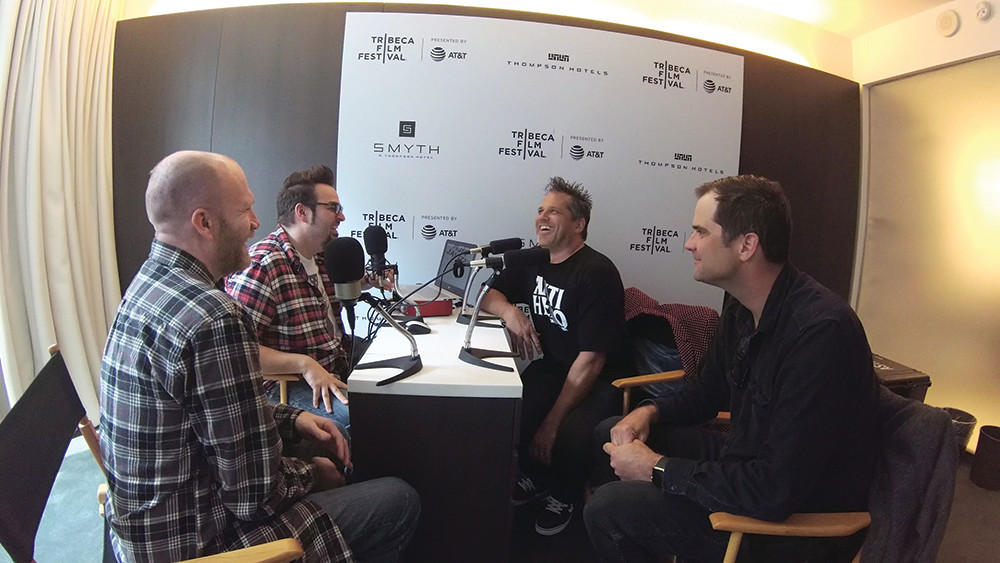 Chuck and Brad (left) interviewing Jackass director Jeff Tremaine for their podcast, Agreeing to Disagree
