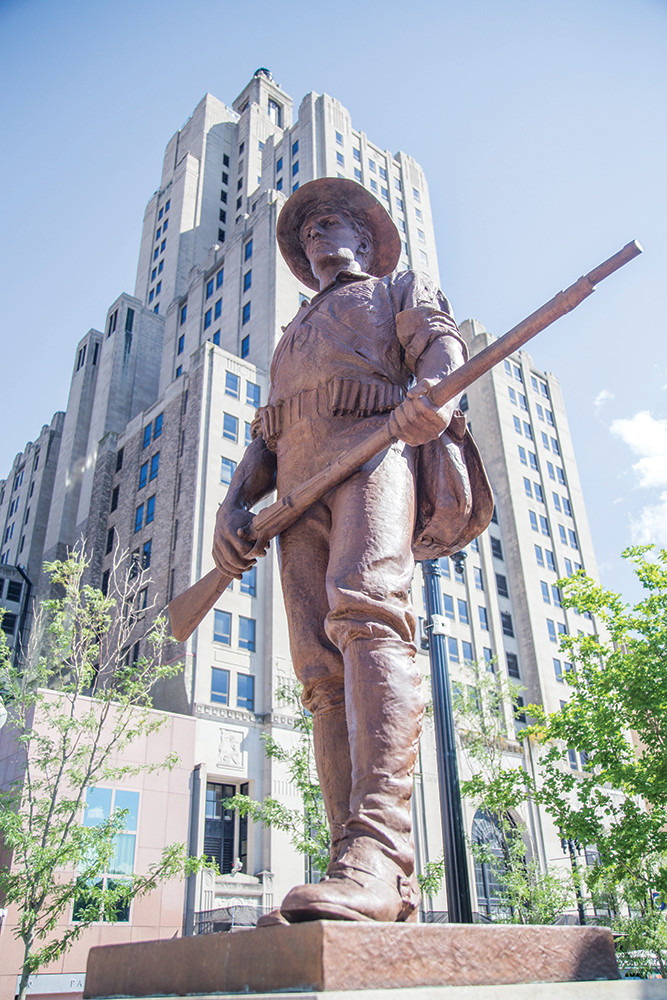 The Hiker, located in Kennedy Plaza