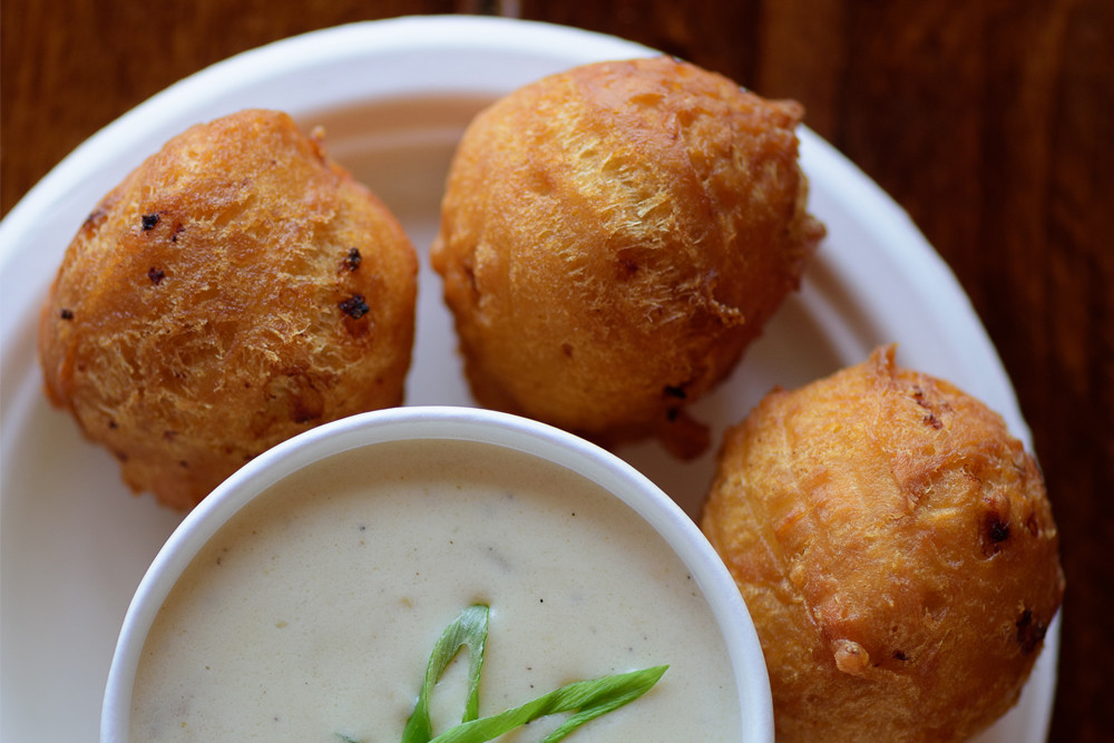 Clam Cakes with New England Style Clam Chowder