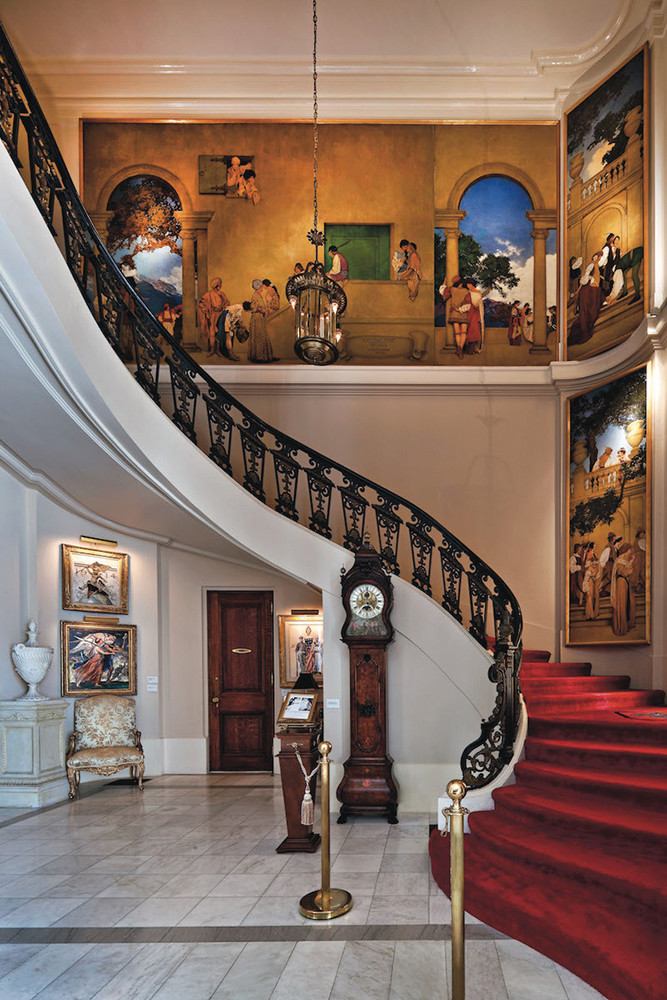 "The ""Romance Staircase"" at the National Museum of American Illustration in Newport"