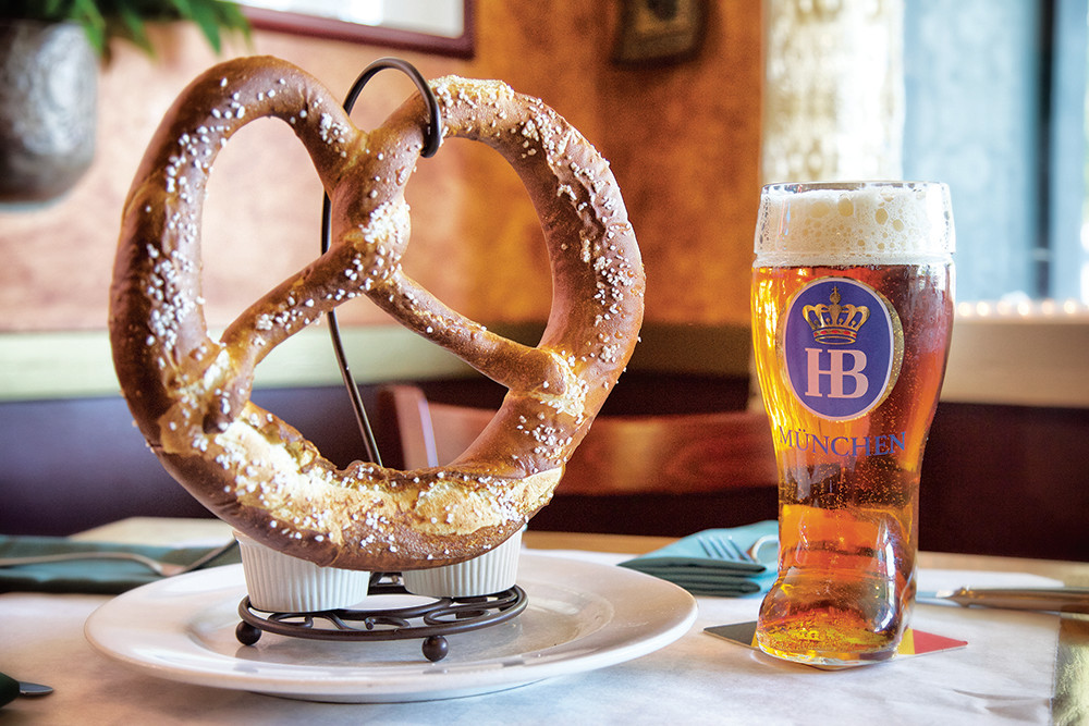 Bavarian Pretzel with Dusseldorf Mustard and Schwarzbier Cheese Sauce