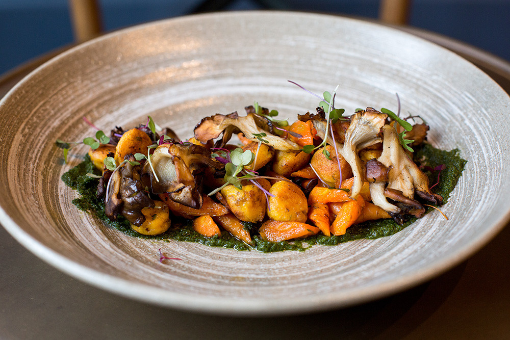 Heirloom Carrot Gnocchi with Hazelnuts and Maitake Mushrooms