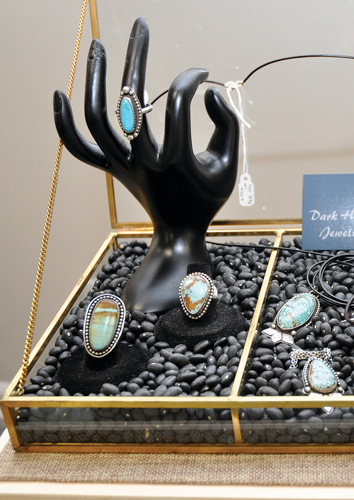 Silver and Turquoise pieces by Dark Horse Jewelry, $20–$120