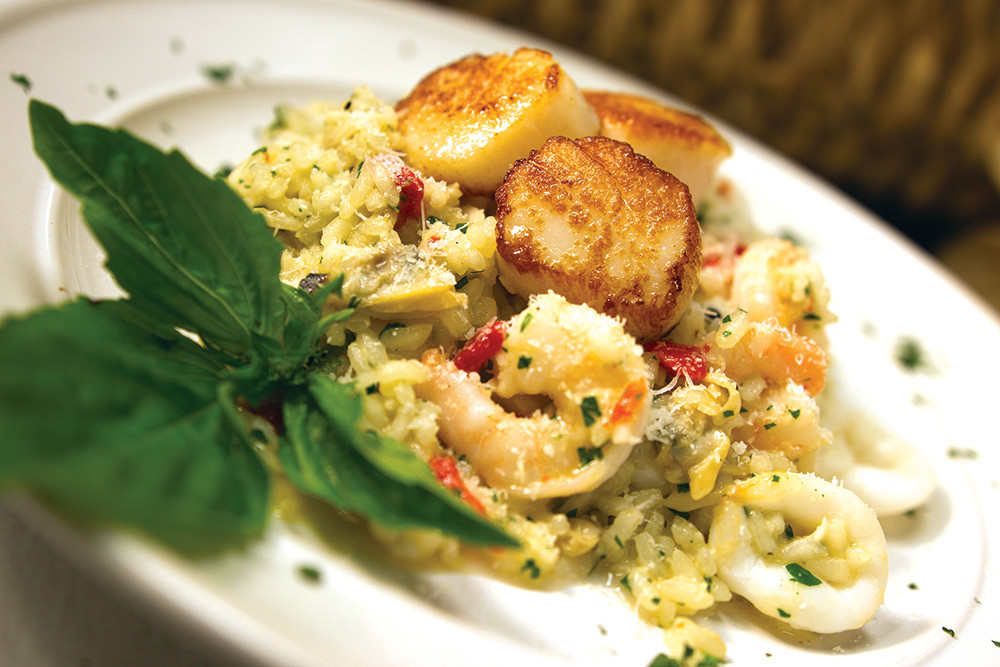 Seafood risotto and seared scallops