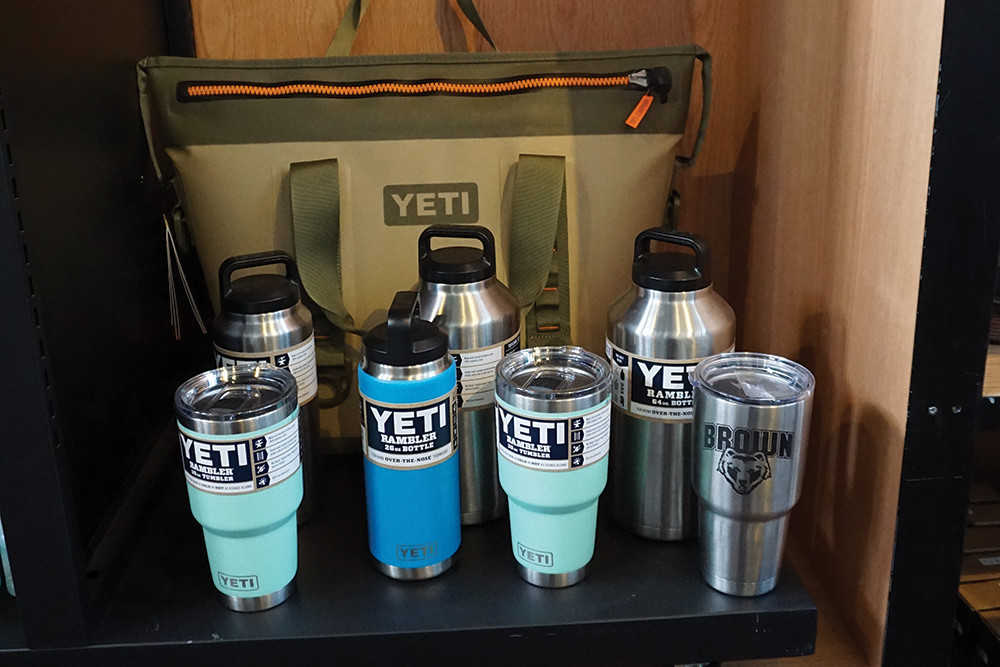 Yeti cups and coolers, $40–$80; large hopper, $250