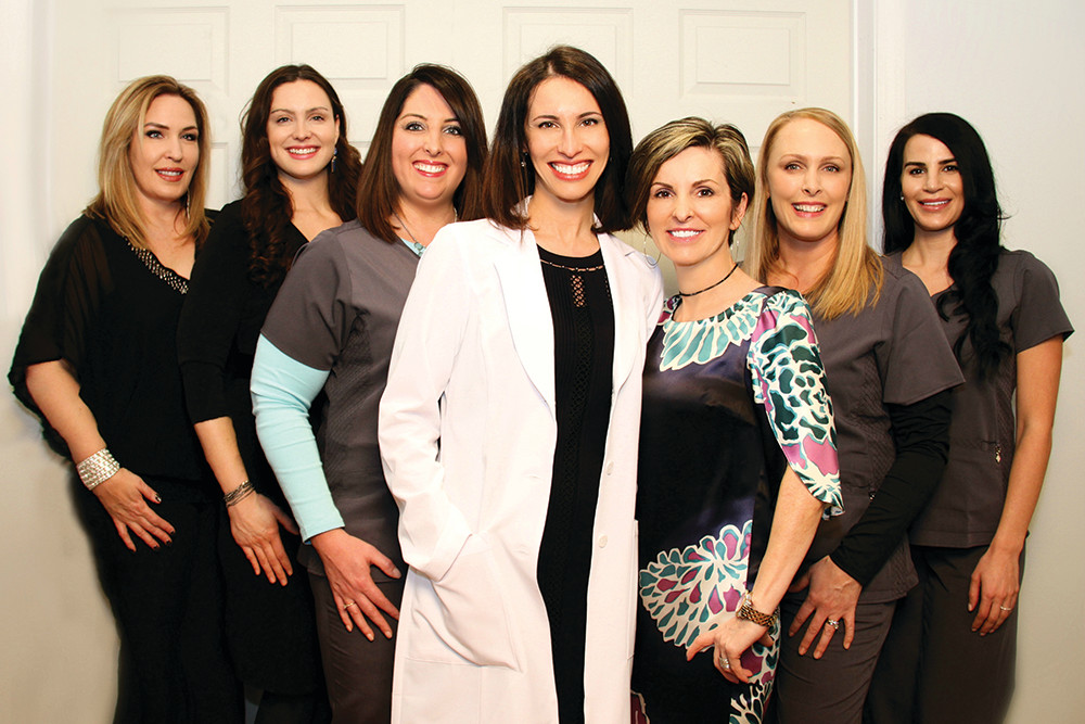 Candy Adams, Nina Kole, Michelle Minicucci, Dr. Sarah Levy, Maria Disimone, Medical Aestheticians Kerri Parks and Jennifer Amaral