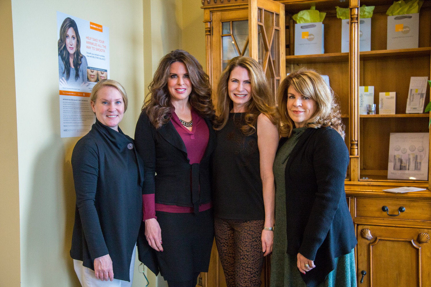 Cherri Bouchard, Reflexologist; Jennifer Serafin, Laser Specialist and Owner; Pamela Lutes, RN, BSN, Injection Specialist and Owner; Donna Procaccianti, Office Manager