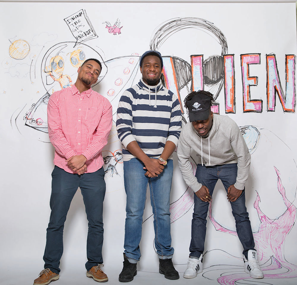 (From left) Lito Carvalho, Ben Moliere, and Keirheim Gentles founded ALIEN to help put local hip hop on the map