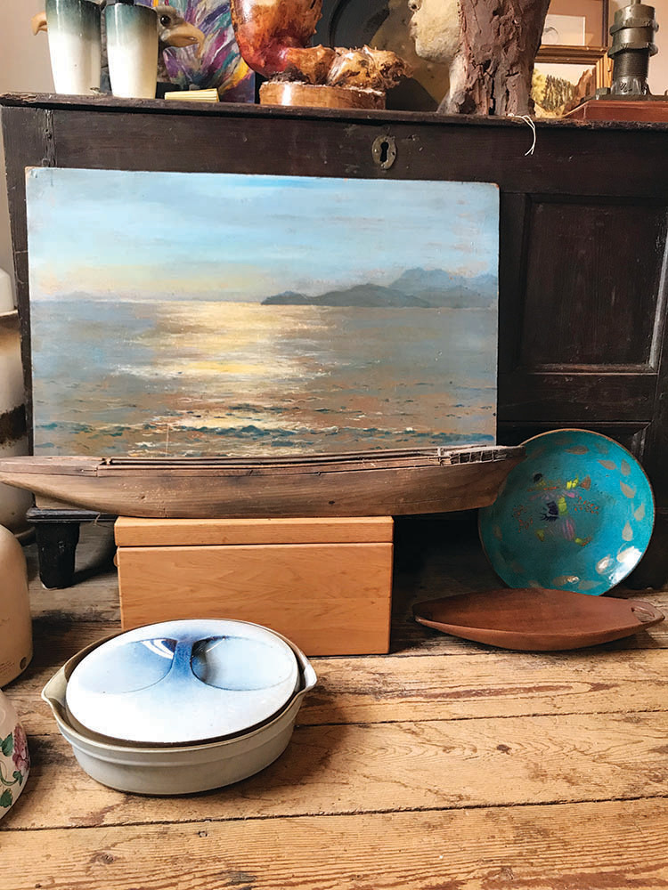 Painting, oil on masonite, $168; Blue enamelware bowl, $38