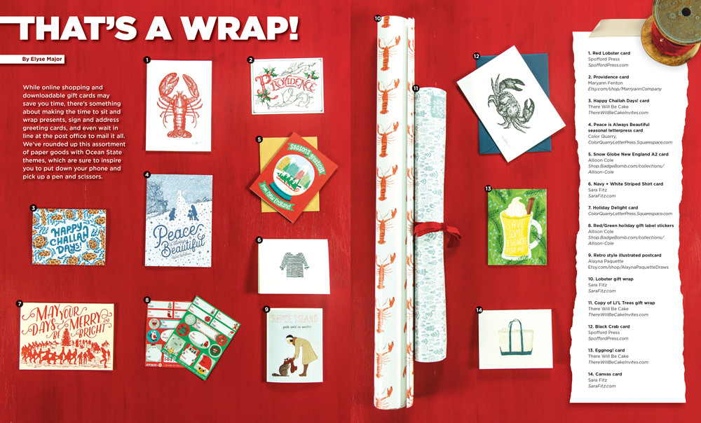 Add a special Rhody touch to holiday gifts with Ocean State themed wrapping paper and paper goods, click to enlarge