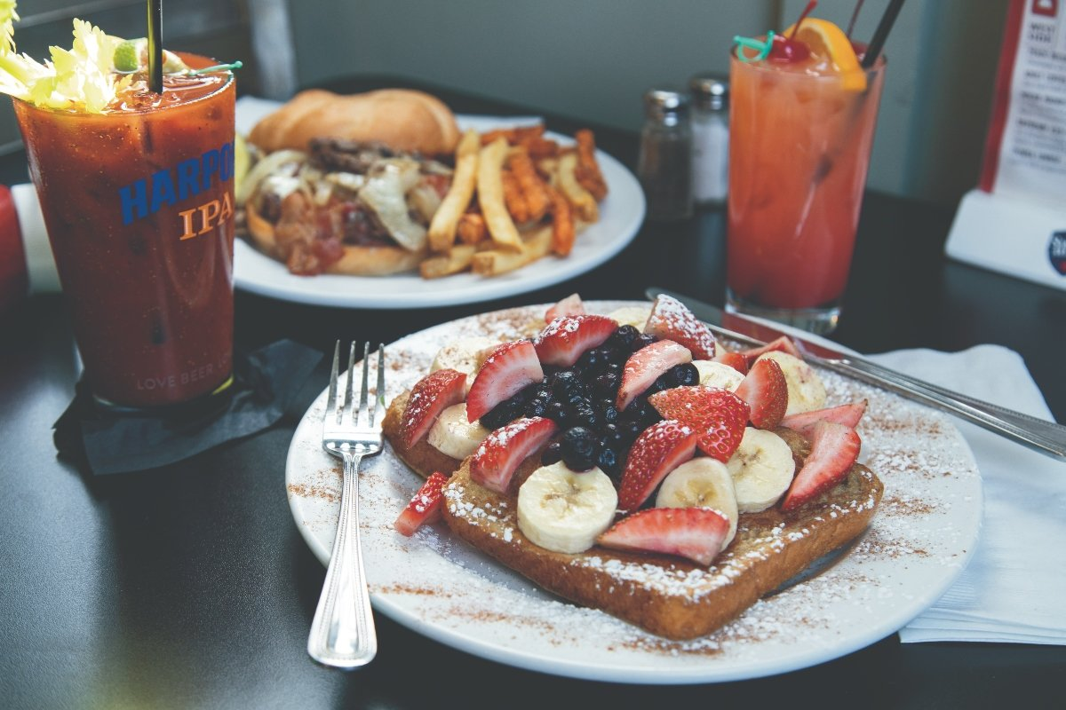 West Side Burger and Stuffed Banana Berry French Toast