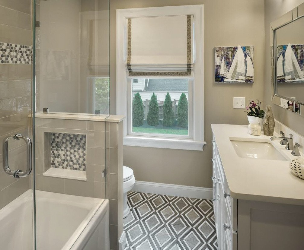 Kim's recent design projects include this bathroom in East Greenwich