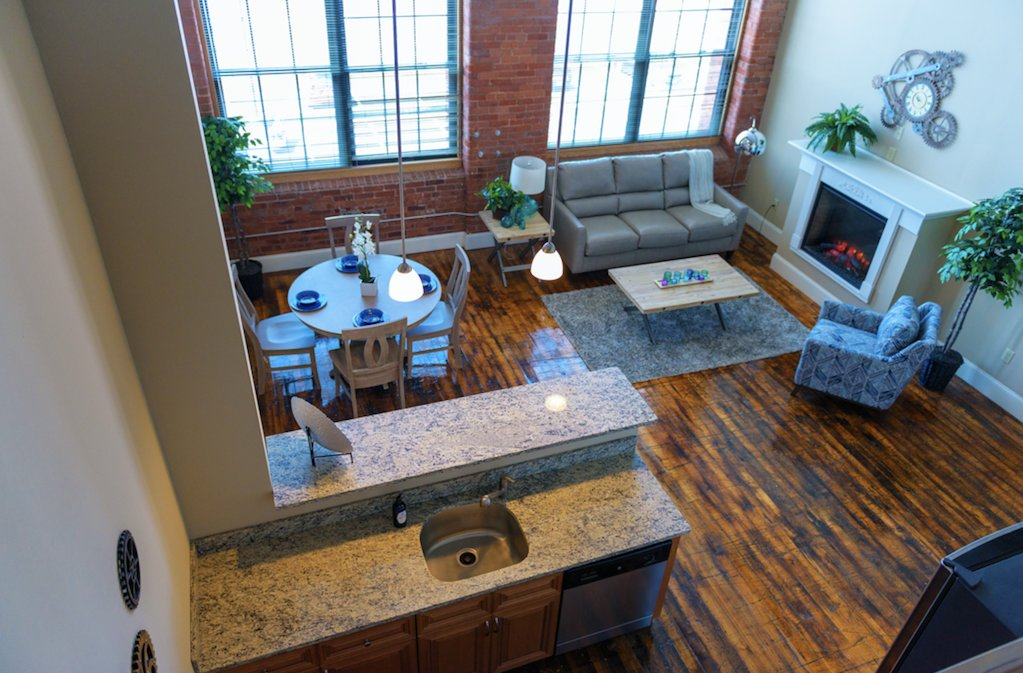 The trendy loft apartments, once filled with industrial workstations, are now home to young professionals and downsizers