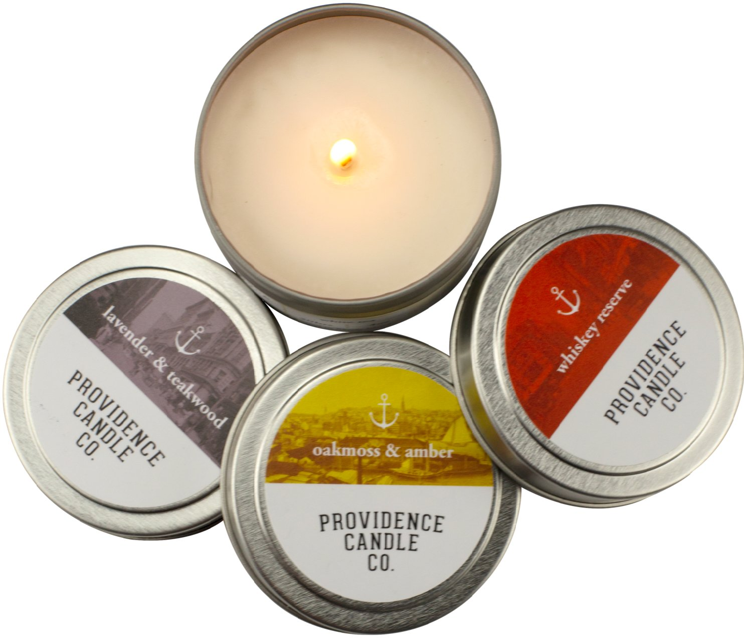 Providence Candle Company: Pure soy candles, sustainably sourced and blended with essential oils. 4 oz tin, $7.